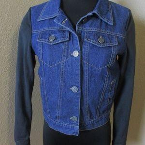 Rails Denim Suede Button Front Jacket Plaid Lining